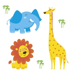 Cute animal Elephant giraffe and lion vector image vector image
