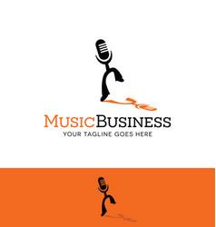 Dancing microphone logo vector