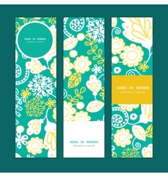 Emerald flowerals vertical banners set vector