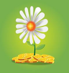 flower finance coin cartoon vector image vector image