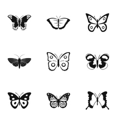 Flying butterfly icons set simple style vector