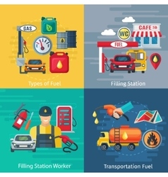Fuel Station Concept Icons Set vector image
