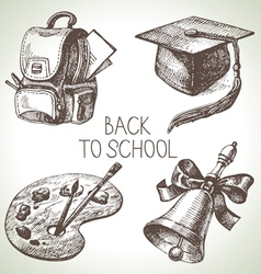 Hand drawn school object set vector