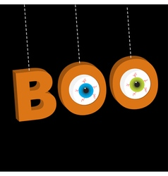 Hanging 3d word boo text with eyeballs dash line vector
