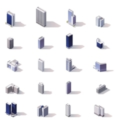 isometric city buildings icon set vector image