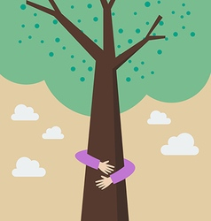 Kid hands hug tree vector
