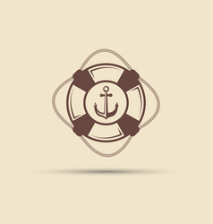 lifebuoy and anchor vintage label vector image vector image