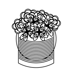 Metal mason jar with flowers isolated icon vector