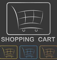 Metallic shopping cart icon button design set vector