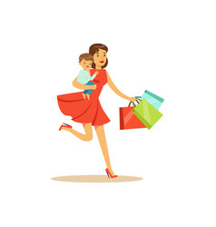 mom with child running with shopping bags vector image vector image