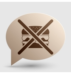 No burger sign Brown gradient icon on bubble with vector image vector image