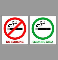 No smoking and smoking area sign vector