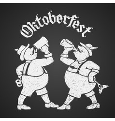 Oktoberfest lettering with two men drinking beer vector