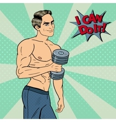Pop art athletic man exercising with dumbbells vector