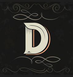 Retro style western letter design letter d vector