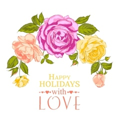 Rose garland in holiday vector image vector image
