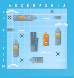 Sea battle game elements with effects cartoon vector