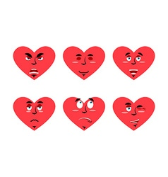Set love emotion cheerful and angry love surprise vector