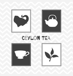 Set of hand drawn silhouettes tea shop posters vector