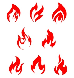 Set of red fire flames vector image