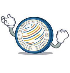 Successful factom coin character cartoon vector