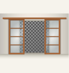 Two sliding wooden doors vector