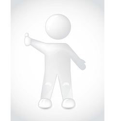 White man with thumb up over gray backgroud vector