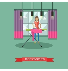 Woman ironing clothes vector