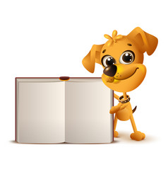 Yellow dog holds open book vector