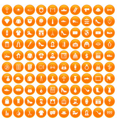 100 stylist icons set orange vector
