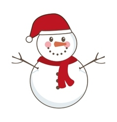 Snowman character icon isolated vector