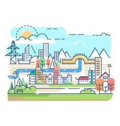 City with river and dwellings vector