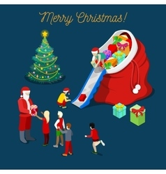 Merry christmas isometric greeting card vector