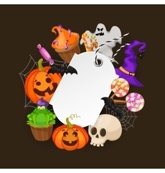 Halloween gift tags with autumn tree bats candy vector