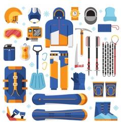 Snowboard equipment set vector