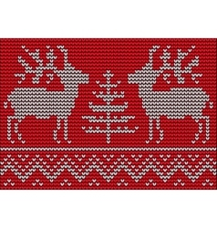 Knitted pattern with deers and christmas tree vector