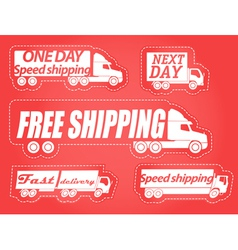 Fast delivery stickers collection vector