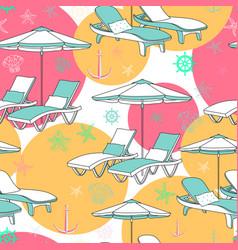 Beach seamless pattern lounge chair on vector