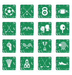Sport equipment icons set grunge vector