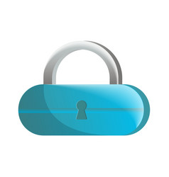 Closed blue lock icon in flat design vector