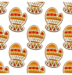 Gingerbread mitten seamless pattern vector