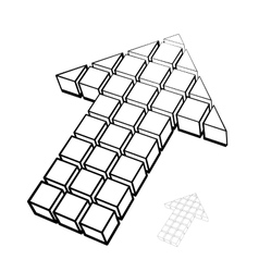 Arrow icon made of drawing cubes vector image