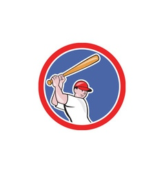 Baseball player batting circle cartoon vector