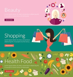 Flat design concept for beauty shopping and health vector