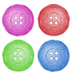 4 colored plastic sewing buttons of classic vector image