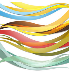 Set of colored waves abstract template vector