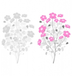 Grey branch with pink flowers vector