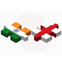 India and england flags in puzzle vector
