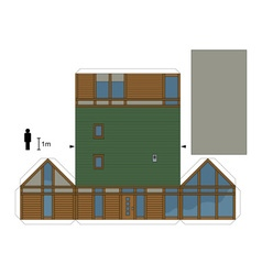 Paper model of a modern wooden house vector