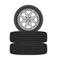 Realistic car wheels vector